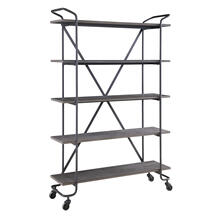 "48"" Bookshelf W/5 Shelves -antique Grey Finish W/rustic Metal Frame On Wheels"