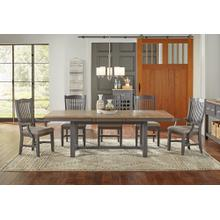 7 PIECE SET (TRESTLE TABLE, 4 SIDE CHAIRS AND 2 ARM CHAIRS)
