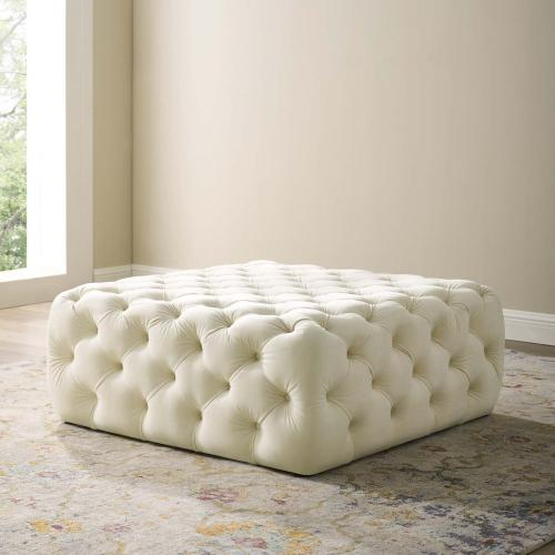 Amour Tufted Button Large Square Performance Velvet Ottoman in Ivory