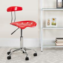View Product - Vibrant Red and Chrome Swivel Task Office Chair with Tractor Seat