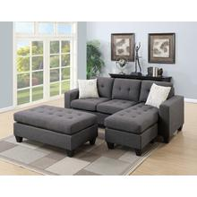 Larisa Sectional Sofa Set, Blue-grey