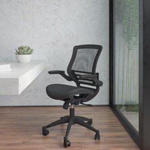 Mid-Back Transparent Black Mesh Executive Swivel Office Chair with Black Frame and Flip-Up Arms