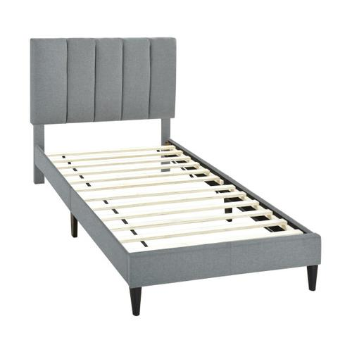 Accentrics Home - Vertically Channeled Twin Upholstered Platform Bed in Gray