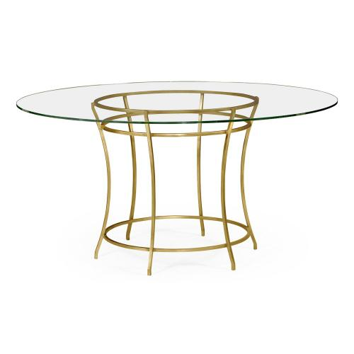 "60"" Gilded iron round dining table"