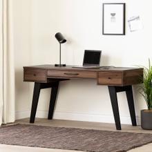 Computer Desk with Power Bar - Natural Walnut