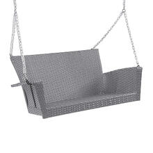 Resin Wicker/ Steel Contemporary Hanging Loveseat Swing - Weathered Gray