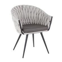 Braided Matisse Chair - Black Metal, Cream Fabric, Grey Pu