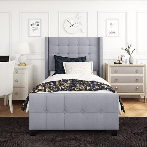 Accentrics Home - Twin Modern Wing Bed in Dove