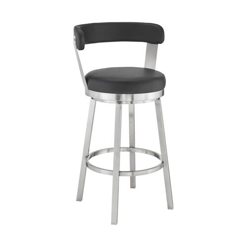 """Bryant 30"""" Black Faux Leather and Brushed Stainless Steel Swivel Bar Stool"""
