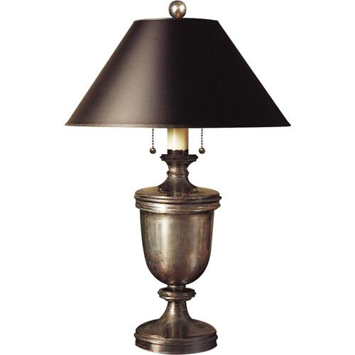 Visual Comfort CHA8172SN-B E. F. Chapman Classical 24 inch 40 watt Sheffield Nickel Decorative Table Lamp Portable Light in Black Paper