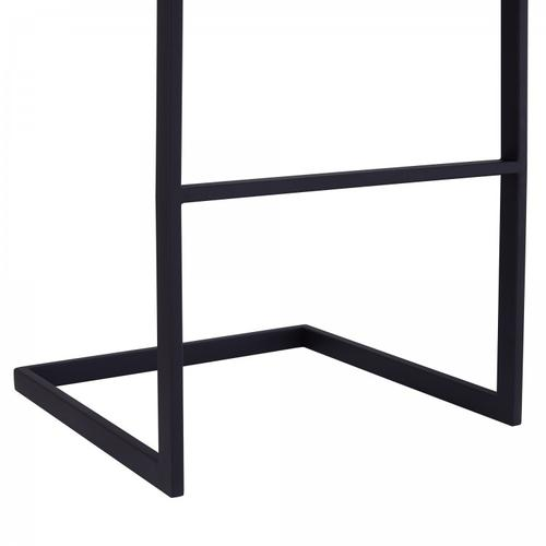 """Lucas Contemporary 30"""" Bar Height Barstool in Black Powder Coated Finish and Grey Faux Leather"""