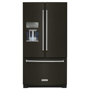 KitchenAid26.8 cu. ft. 36-Inch Width Standard Depth French Door Refrigerator with Exterior Ice and Water and PrintShield™ Finish - Black Stainless Steel with PrintShield™ Finish