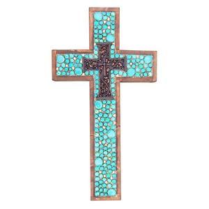 Turq Jeweled Large Cross
