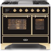 Majestic II 40 Inch Dual Fuel Liquid Propane Freestanding Range in Glossy Black with Brass Trim