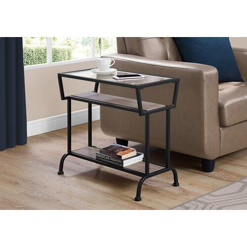 "ACCENT TABLE - 22""H / DARK TAUPE / BLACK / TEMPERED GLASS"