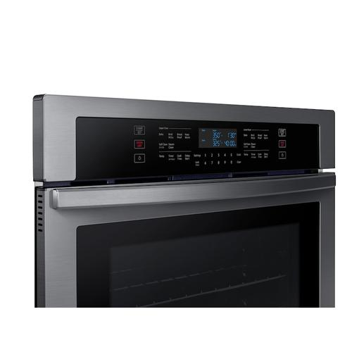 """Samsung - 30"""" Double Wall Oven in Black Stainless Steel"""