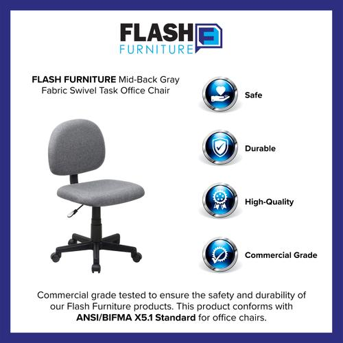 Gallery - Mid-Back Gray Fabric Swivel Task Office Chair