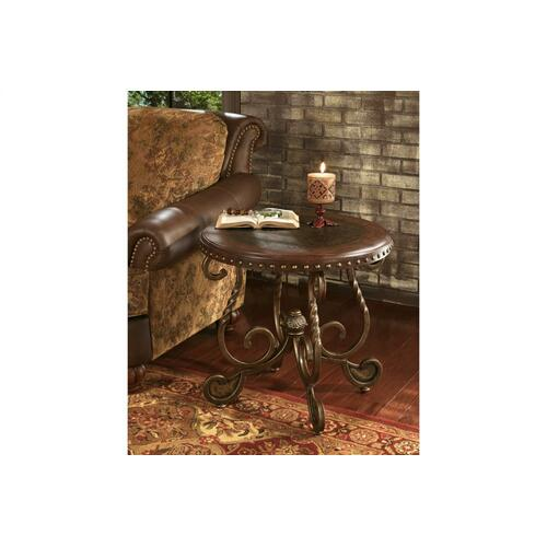 Rafferty Round End Table Dark Brown