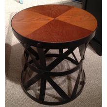 See Details - Metal Strap Side Table with Wood Top