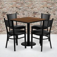 Product Image - 30'' Square Walnut Laminate Table Set with 4 Grid Back Metal Chairs - Black Vinyl Seat