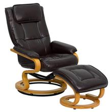 Contemporary Adjustable Recliner and Ottoman with Swivel Maple Wood Base in Brown LeatherSoft