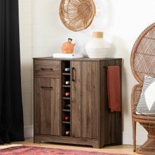 Bar Cabinet and Bottle Storage - Natural Walnut