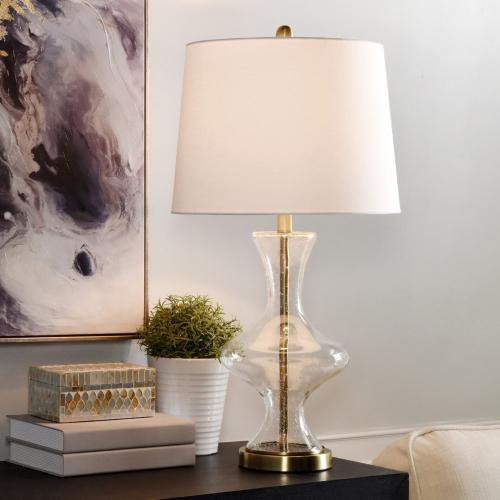 Product Image - Seeded Glass  29in Clear Seeded Glass & Metal Base Promotional Table Lamp  150 Watts  3-Way