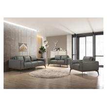 View Product - Pietro Gray Leather Sofa, Loveseat & Chair, L2110