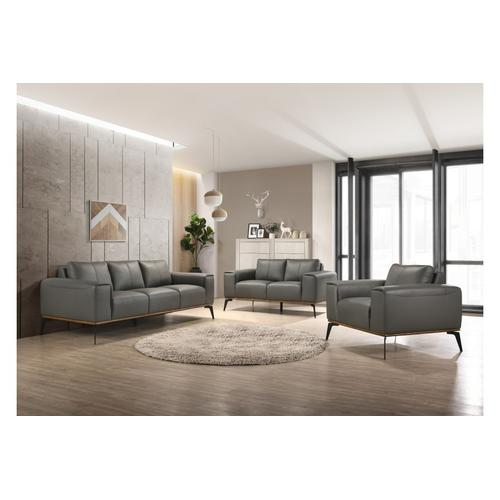 See Details - Pietro Gray Leather Sofa, Loveseat & Chair, L2110