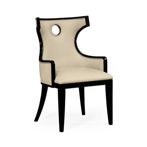 Greek Revival Biedermeier Black Arm Chair