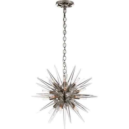 Visual Comfort CHC5286PN-CA E. F. Chapman Quincy 20 Light 20 inch Polished Nickel Pendant Ceiling Light, E.F. Chapman, Small, Sputnik, Clear Acrylic Shade