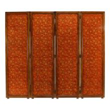 See Details - Red Chinoiserie four panel screen