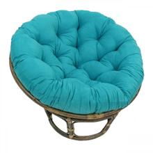 Bali 42-inch Rattan Papasan Chair with Microsuede Fabric Cushion - Walnut/Aqua Blue