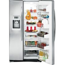 GE Profile™ ENERGY STAR® 25.6 Cu. Ft. Side-by-Side Refrigerator with Dispenser.  (This is a Stock Photo, actual unit (s) appearance may contain cosmetic blemishes. Please call store if you would like actual pictures). This unit carries our 6 month warranty, MANUFACTURER WARRANTY and REBATE NOT VALID with this item.