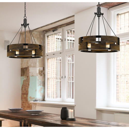 60W X 3 Bradford Metal And Wood Chandelier (Edison Bulbs Not included)