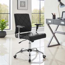 See Details - Lattice Vinyl Office Chair in Black