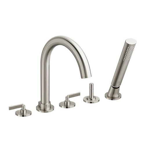 Dxv - Percy Water Saving Deck-Mounted Bathtub Faucet with Stem Handles - Brushed Nickel