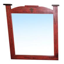 See Details - Red Scraped Mirror Cross