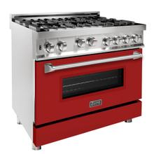 ZLINE 36 in. Professional Gas on Gas Range in Stainless Steel with Red Matte Door (RG-RM-36)