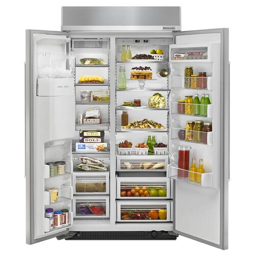 KitchenAid®25.5 cu. ft 42-Inch Width Built-In Side by Side Refrigerator - Stainless Steel