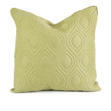IK Kavita Green Linen Quilted Pillow w/ Down Fill