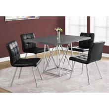 """DINING CHAIR - 2PCS / 32""""H / BLACK LEATHER-LOOK / CHROME"""