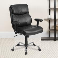 View Product - HERCULES Series Big & Tall 400 lb. Rated Black LeatherSoft Ergonomic Task Office Chair with Clean Line Stitching and Arms