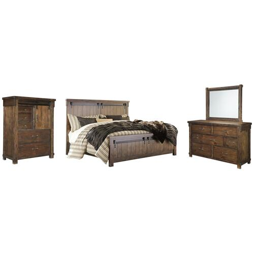 California King Panel Bed With Mirrored Dresser and Chest