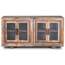 Product Image - HUGHES SIDEBOARD  Natural Finish on Reclaimed Wood with Plain Glass  4 Door