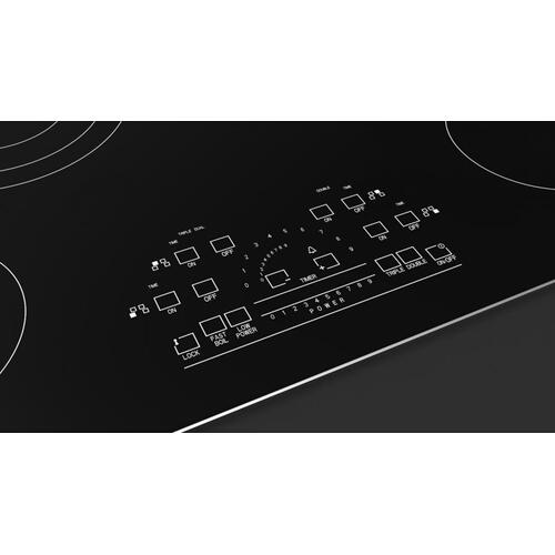 "30"" Radiant Cooktop With Brushed Aluminum Trim - Black Glass"