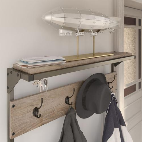 Refinery Hall Tree with Shoe Storage Bench - Rustic Gray