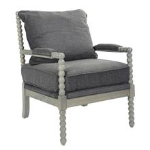 See Details - Abbott Spindle Chair In Charcoal Fabric With Brushed Grey Finish