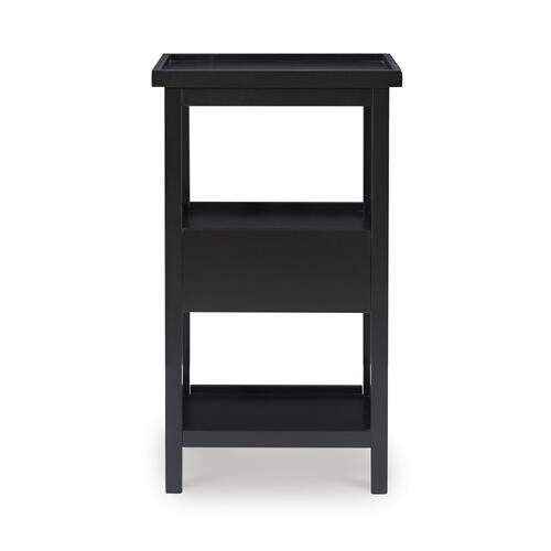 One Pull Out Tray and One-drawer Table With Shelf, Black