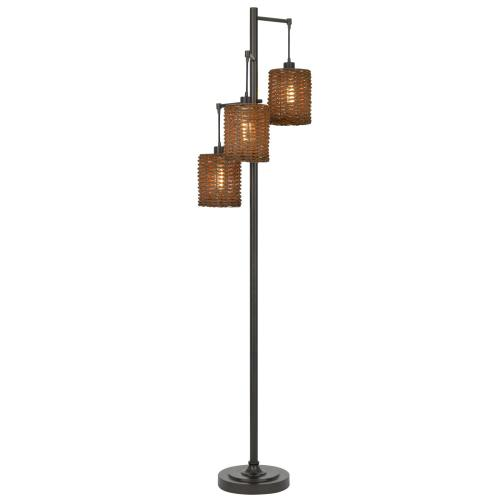 40W x3 Connell metal floor lamp with rattan shades with a pole 3 way rotary switch